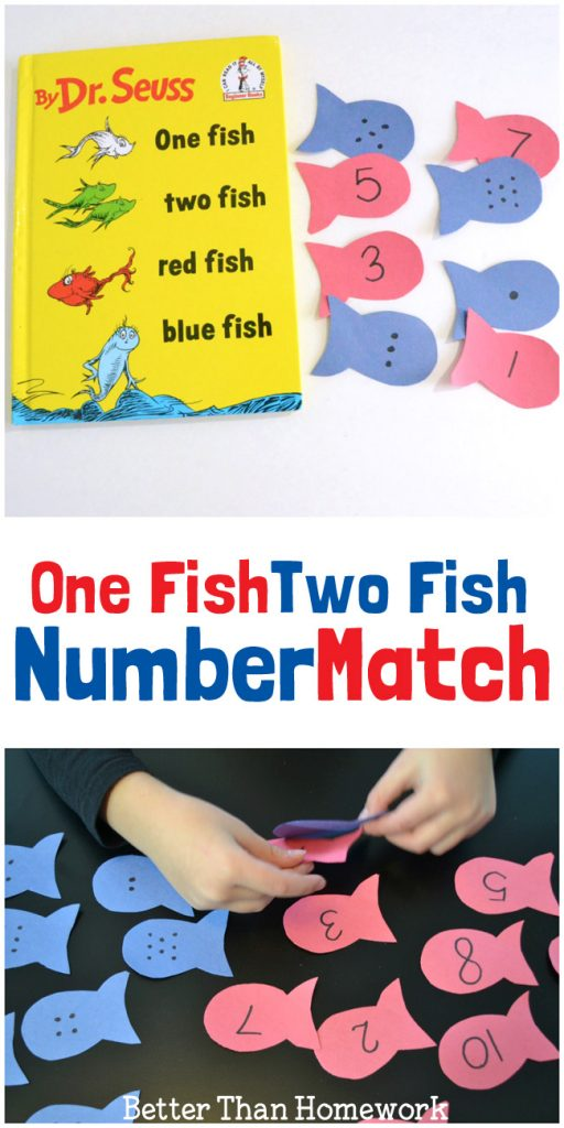 This One Fish Two Fish activity is a fun way to practice numbers and counting. It's a fun math game for preschool and kindergarten.
