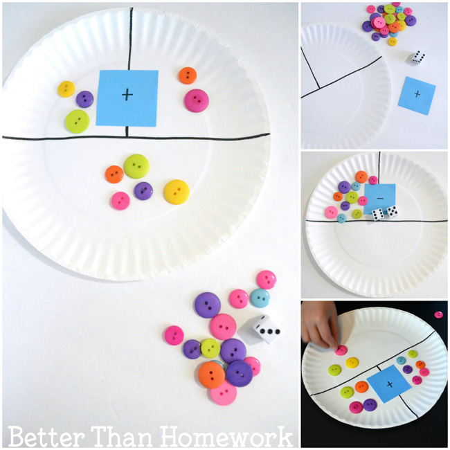 Paper plate games to practice addition and subtraction