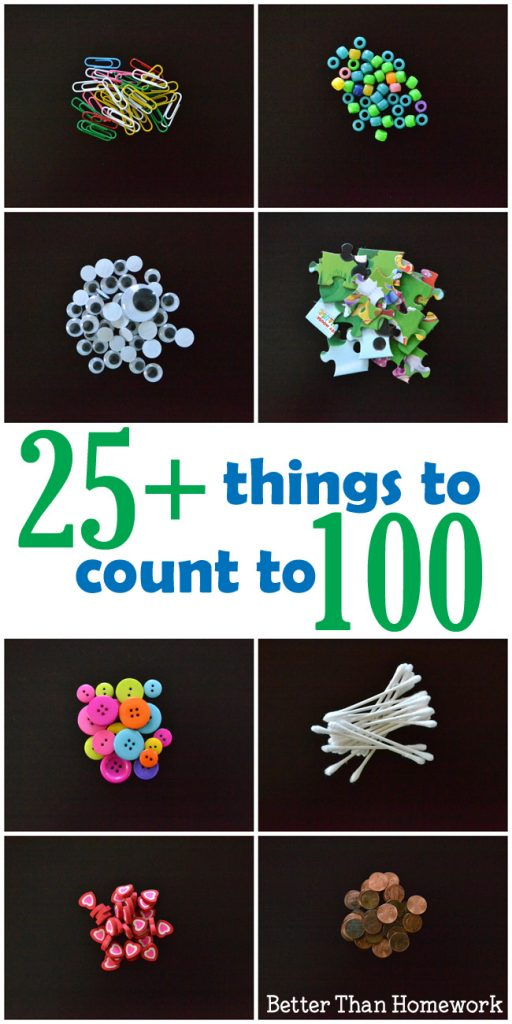 More than 25 everyday items you can use to count to 100.