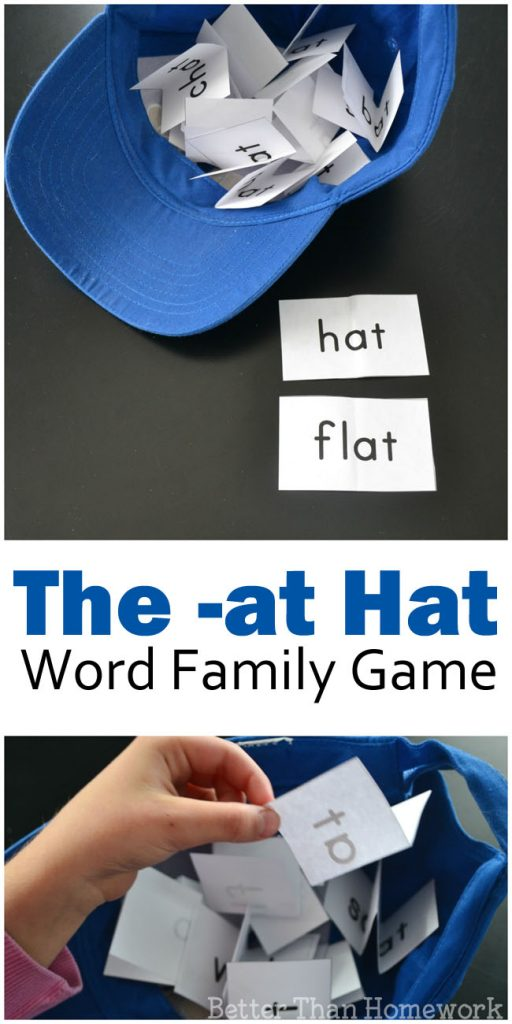 Practice your -at words with this fun word family game, The -AT Hat