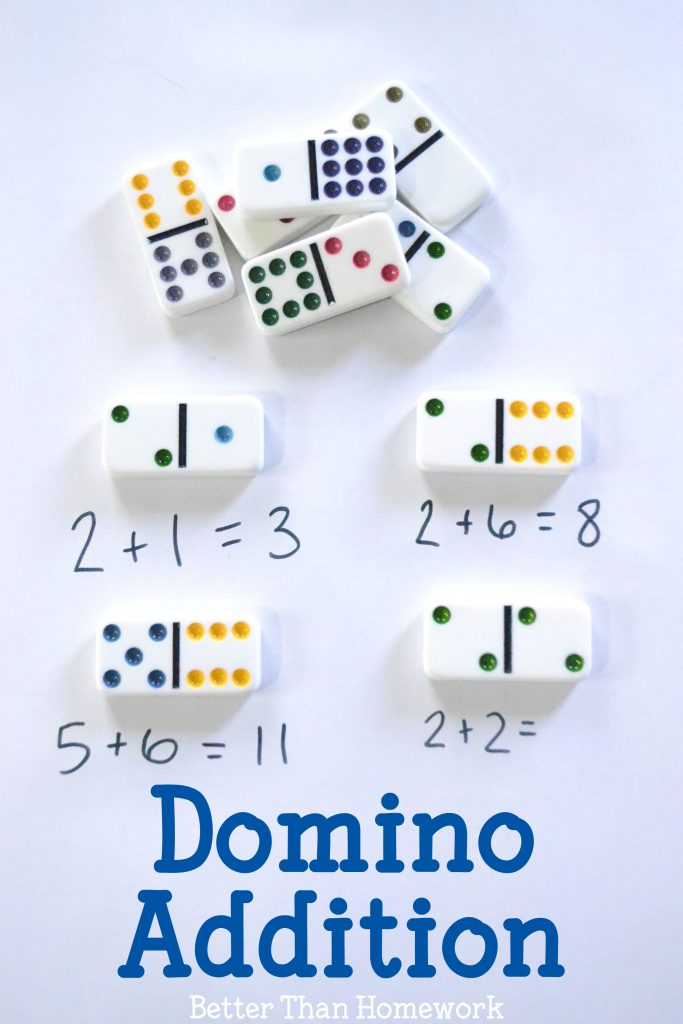 Domino addition is a fun and simple math activity that is fun for home and the classroom. It's a hands-on math activity that makes addition fun.