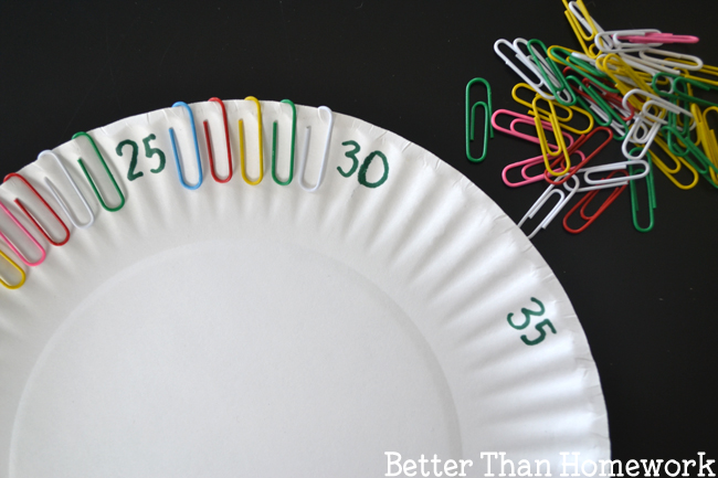 Grab a paper plate and some paper clips for this easy fine motor skip counting activity to help your kids learn to skip count by fives.