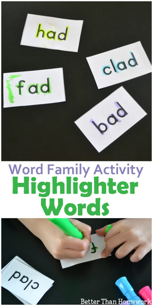 Highlighter Words is a simple -ad word family activity to help beginning readers. Includes printable word family cards to make the activity easy to set up.