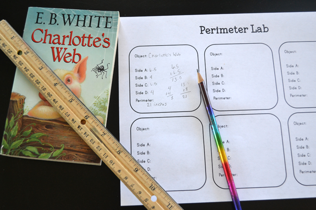 Explore measurement with this simple hands-on perimeter activity for kids, a Perimeter Lab math invitation. The'll measure, calculate, and have fun.