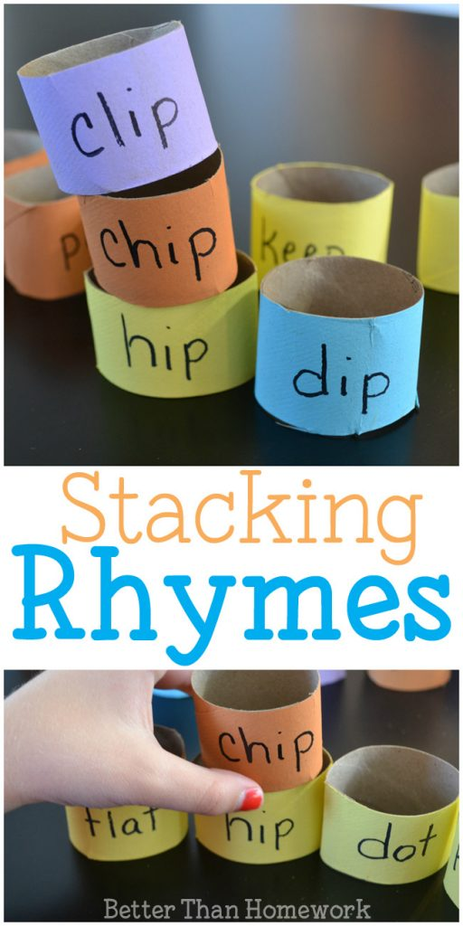Practice rhyming words with this simple DIY reading game for kids, stacking rhyming words. Build towers out of rhymes and see how high you can make them! #rhyming #literacy #kindergarten #BetterThanHomework