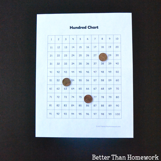 Guess the hidden number on the hundred chart with this easy math game.