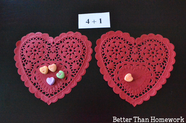Use a fun candy treat to practice math with Candy Heart Addition Valentine's Day Math Activity. It's fun way to practice adding!