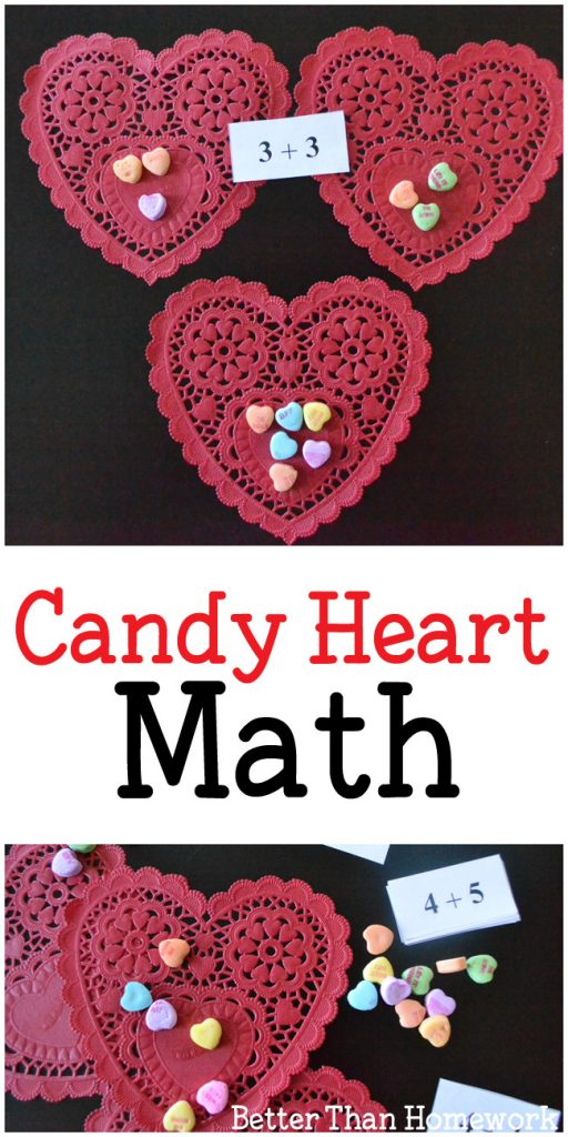 Use a fun candy treat to practice math with Candy Heart Addition Valentine's Day Math Activity. It's fun way to practice adding! #math #Valentinesday #BetterThanHomework