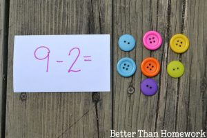 Subtraction with Loose Parts Math Activity