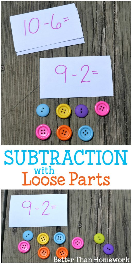 Use math manipulatives to help understand subtraction and practice subtraction facts with these simple subtraction with loose parts activities.