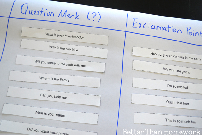 Practice end punctuation with this simple, printable punctuation game. Cut out the sentence strips and add them to the punctuation graph.