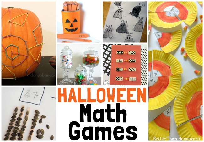 Practice addition, subtraction, fractions, multiplication, and more with these Fun Halloween Math Games suitable for all elementary grades.