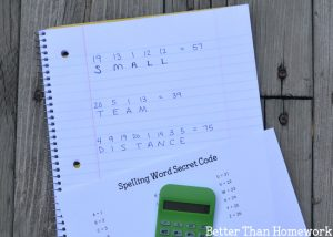 Secret Code Spelling Words