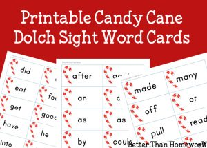 Printable Candy Cane Sight Words