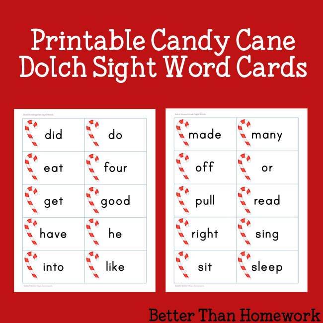 Practice Dolch sight words with these fun printable Candy Cane Sight Words cards for pre-k through 3rd grade. Print and play, learn and have fun!