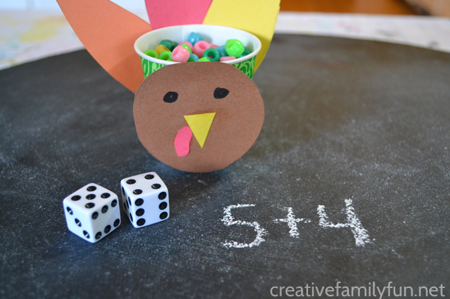 Use addition to fill the turkey with this fun Thanksgiving Addition Game for kids. Roll the dice, add the numbers, and fill the turkey.