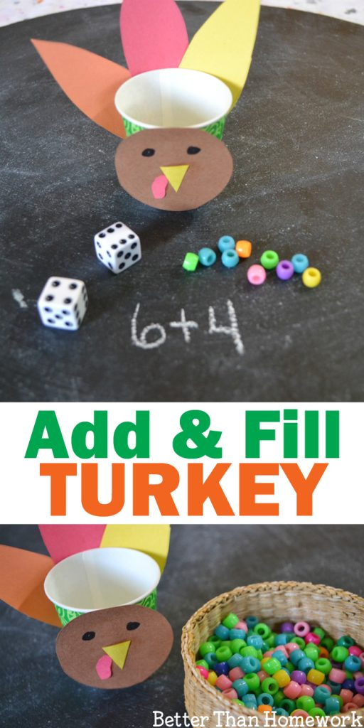 Use addition to fill the turkey with this fun Thanksgiving Addition Game for kids. Roll the dice, add the numbers, and fill the turkey. #Thanksgiving #math #addition #BetterThanHomework