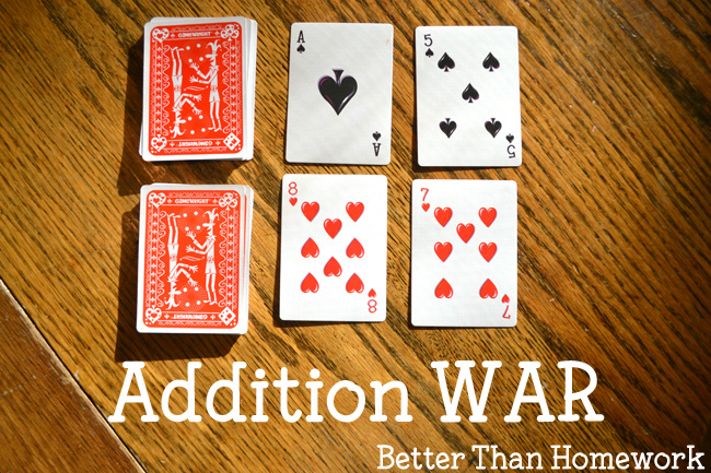 Practice addition with a buddy when you play this easy addition card game, Addition War. All you need is a deck of cards and a friend for this fun math game.