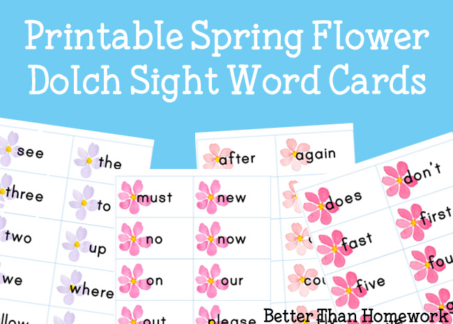 Printable Spring Flower Sight Words